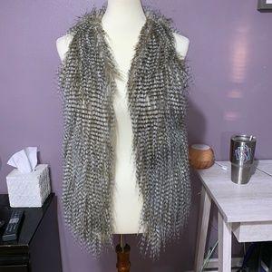 Tobi Feathered Fur Winter Vest Brown Tones Small